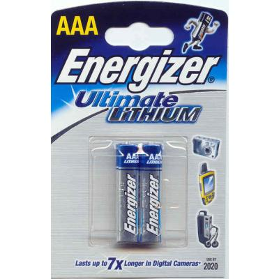 2 Batterien Energizer Ultimate Lithium Micro L92-FR03-AAA