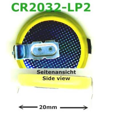 Panasonic Lithium-Knopfzelle CR2032 mit 2 Lötpins