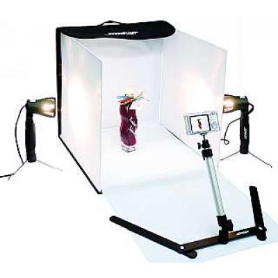 Fotostudio-Box mit 2 Strahlern, Stativstange und Fotozelt