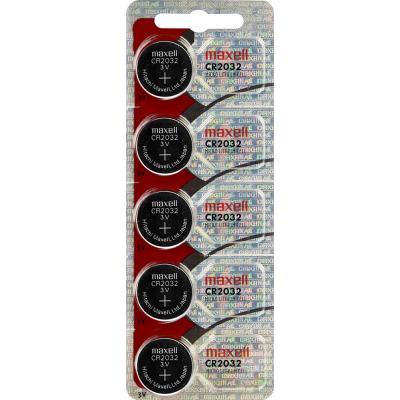 Maxell Lithium-Knopfzelle CR2032, 5 Stück Blisterkarte