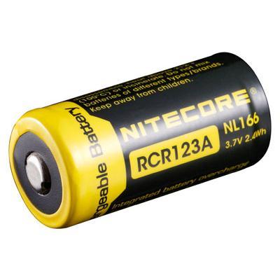 NiteCore 16340 / NL166 / RCR123A Li-Ion Akku 650 mAh 3,7V IC-Protected  für Leuchten