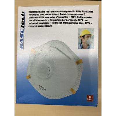 FFP1 Feinstaubmaske, Mundbedeckung, Gesichtsmaske mit Ausatmungsventil im 10er Pack