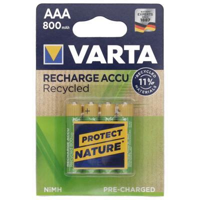 4 x VARTA Recharge Micro Accu Recycled, Ni-MH 1,2V / 800mAh