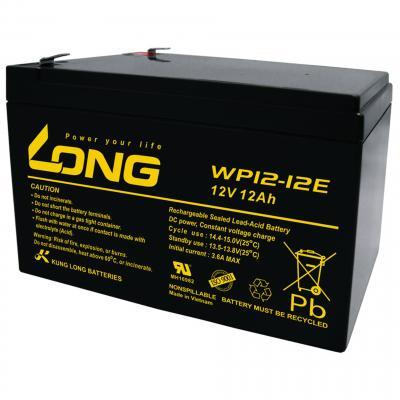 Kung Long Blei-AGM-Akku WP12-12E-M, 12V, 12 Ah, zyklenfest (Faston 230 - 6,35mm)