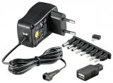 3-12 V Universal-Netzteil inkl. USB + 8 DC-Adaptern - max. 3,6 W und 0,3 A